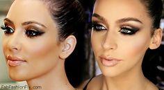 Kim Kardashian inspired bronze smokey eyes make-up look
