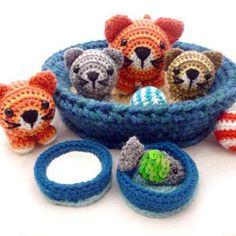 Basket of Kitties amigurumi pattern by Janine Holmes at Moji-Moji Design