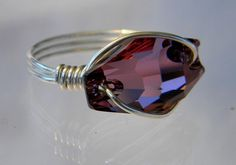 Sterling Silver Swarovski Antique Pink Crystal Hexagon Ring