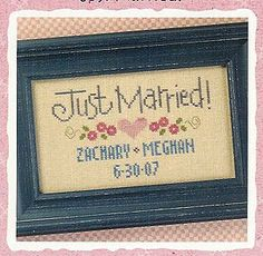 Just Married is the title of this cross stitch pattern from Lizzie Kate that is stitched with Weeks Dye Works (Bluecoat Blue and Linen) and ...