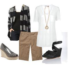 khaki bermuda shorts, a white tee, and black cardigan