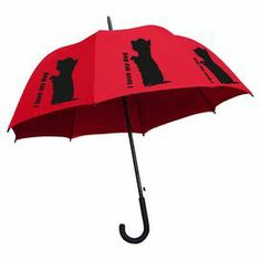 "Brighten a rainy day with this colorful umbrella, showcasing a Yorkshire terrier motif and typographic details.   Product: UmbrellaConstruction Material: Polyester, fiberglass and steel Color:  Black and red Features:   Rubberized crook handle  Waterproof  Automatic opening mechanism   Dimensions: 34"" H x 5"" W x 2"" D (closed)Cleaning and Care: Wipe clean"