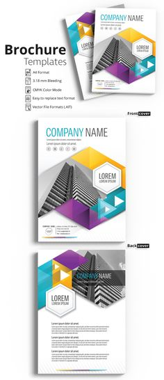 Stock template of Brochure Cover Layout with Teal, Yellow and Purple Accents. Search more similar templates at Adobe Stock Broucher Design, Flyer Design, Purple Accents, Teal Yellow, Corporate Brochure Design, Booklet Design, Brochure Template, Flyer Template, Certificate Design