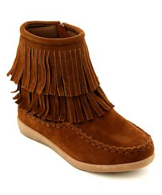 Tan Fringe-Trim Melting Boot