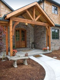 75 Rustic Farmhouse Front Porch Decorating Ideas – rustic home exterior Front Porch Addition, Front Porch Design, Porch Designs, Farmhouse Front Porches, Rustic Farmhouse, Rustic Porches, Stone Porches, Farmhouse Ideas, Farmhouse Style