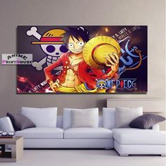 One Piece Canvas Painting, Luffy D Monkey One Piece Merchandise, Anime Merchandise, Bedroom Decor, Wall Decor, Wall Art, Image Manga, One Piece Anime, Bedding Sets, Duvet Covers