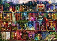Fairytale Treasure Hunt Book Shelf Digital Art