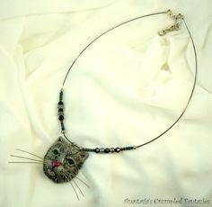 Grey persian cat pendant Polymer clay gray by CrumpledFantazies