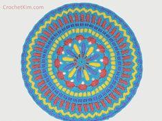 Turquoise Mandala Doily Part 2   CrochetKim.com