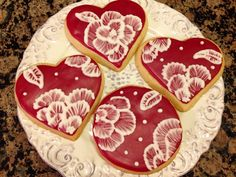 Brush Embroidery Valentine Cookies