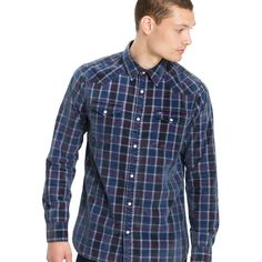 Corduroy don't get much more comfortable than this. Crafted from brushed cotton, this button-down is not only soft but also comes in a classic plaid pattern with Western-inspired stitching. Dark Blue Shirt, Check Shirt, Men's Collection, New Girl, Indigo, Tommy Hilfiger, Men Casual, Menswear, Man Shop