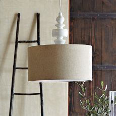 Turning Pendant - White/Natural - west elm - love big drum shades.  this would be neat over the dining table.  too bad i like the fixture we already have.