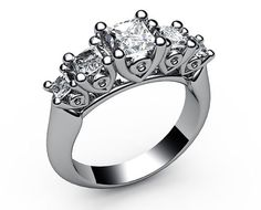 3 stone ring,Engagement ring, Diamond ring,5-Princess, Diamond, Wedding Ring,1.3/4 carat, 18K White gold, 18K Yellow gold, marriage,forever  Setting: Metal type: 18K Yellow or White gold Weight in 18K : 7.5 gram Setting type: prong setting Ring size (US): Available sizes 6.0 to 8.0 If you have different ring size please contact us (in the picture ring size is 7 US size)   Stones: Stone type: Natural Diamonds Shape: Princess cut Carat weight: 5 stones / 1.70 ct. tw. Color grade: H-I...