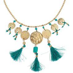 Collier pièces dorées turquoise - Parez votre tour de cou de couleurs et de fantaisie - 12,95 €