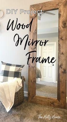 diy home decor DIY Wood Mirror Frame Diy Wood Projects, Home Projects, Beginner Wood Projects, Diy Wood Crafts, Diy Projects For Bedroom, Simple Projects, Easy Crafts, Bois Diy, Wood Framed Mirror