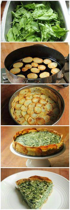 Spinach And Spring Herb Torta In A Potato Crust #vegan
