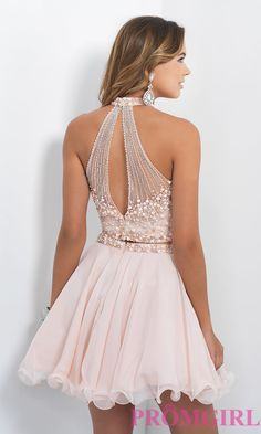 Image of high-neck two-piece short homecoming dress by Blush. Back Image
