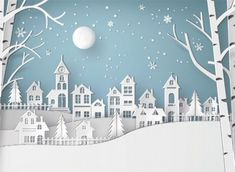 Snow Urban Countryside Village with Full Moon New Stock Photo . Winter Snow Urban Countryside Village with Full Moon New Stock Photo . Winter Snow Urban Countryside Village with Full Moon New Stock Photo . 3d Christmas, Merry Christmas And Happy New Year, Christmas Ornaments, Christmas Villages, Paper Christmas Trees, Christmas Village Decorations, Christmas Mantles, Winter Decorations, Silver Christmas