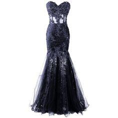 Dresstore Women's Long Mermaid Lace Prom Dress Sweetheart Sheer... (400 BRL) ❤ liked on Polyvore featuring dresses, gowns, lace prom dresses, long evening gowns, long prom gowns, prom dresses and long lace dress