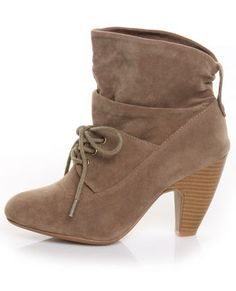 $38   Love boots! http://www.lulus.com/products/qupid-rockin-03-taupe-suede-slouchy-laced-ankle-booties/40681.html