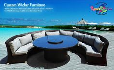 """Elegant round dining set with """"Lazy Susan"""" and Umbrella Hole. Sofas double as sectional seating for added versatility! Many Color Choices Available! Wicker Furniture, Outdoor Furniture Sets, Outdoor Decor, Dining Sofa, Round Dining Set, Lazy Susan, Sofa Set, Choices, Patio"""