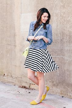 Chambray jean jacket with black and white skirt and yellow heels