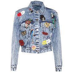 Alice + Olivia Chloe Embellished Crop Denim Jacket