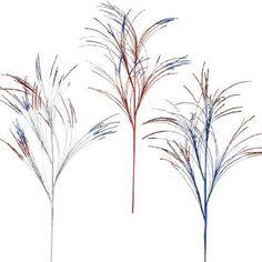 "RAZ Imports - Red, Silver & Blue Glittered Fireworks Sprays 37"""