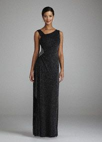 Stylish and chic, you will be the one to watch in this beautiful Mother of the Bride dress!  Sleeveless dress featureseye-catching glitter fabric sure to light up any dance floor.  Stunning side beaded detail adds drama and flare to this already sensational number.  Fully lined. Imported polyester/spandex blend. Dry clean.