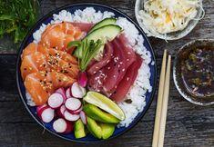 Sashimibolle med syltet kål