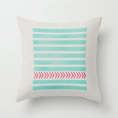 STRIPES AND ARROWS - PINK & BLUE Throw Pillow by Allyson Johnson - $20.00