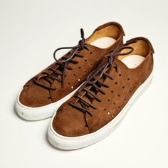 Brown Suede Perforated Sneakers, Men's Spring Summer Fashion.
