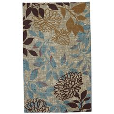 Bella Garden Rectangular Cream Floral Outdoor Tufted Area Rug (Common: 5-ft x 8-ft; Actual: 5-ft x 8-ft)
