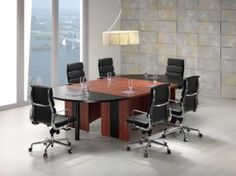 Black and mahogany or black and cherry boardroom table which can be extended by adding centre pieces of or to accommodate any number of people. Centre Pieces, Office Furniture, Empire, Table, Home Decor, Centerpieces, Decoration Home, Room Decor, Center Pieces