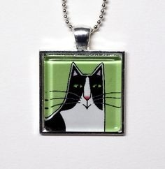 Cat Jewelry SALE/ Tuxedo Cat Glass Pendant by SusanFayePetProjects, $10.00 #cat #jewelry #sale
