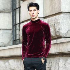 Buy Online 2018 Autumn Brand good quality men's velvet shirts,plus size fashion men velour blouse winter Turtlenecks shirt Formal Shirts, Casual Shirts, Men Shirts, Turtleneck Shirt, Men Sweater, Vogue, England Fashion, Fashion Leaders, Velvet Shirts