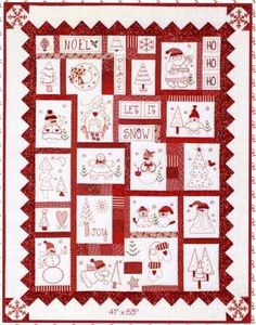 Holiday Redwork Machine Embroidery