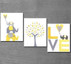 Elephant Nursery Art- triple panel idea, yellow/gray scheme. Again, I'd use turquoise and grey not yellow.