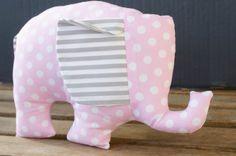 Light Pink Polka Dot and Striped Charming Plush by MilkAndBones, $15.00 Perfect for a nursery