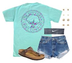 """""""I love this shirt!!"""" by flroasburn ❤ liked on Polyvore featuring Birkenstock, NIKE and Forever 21"""