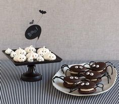 Transform meringues and whoopie pies into spiders and ghosts. #halloween