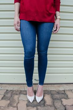 Zara Red Sweater with River Island Jeans and Spiky Nude Heels River Island Jeans, Nude Heels, Red Sweaters, Zara, Skinny Jeans, Cotton, Pants, Fashion, Skinny Fit Jeans