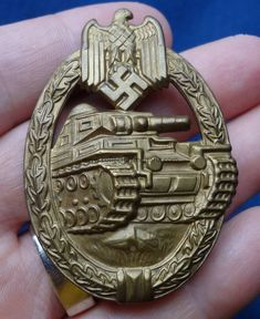 A Minty Hollow Back WWII German Panzer Assault Badge In Bronze