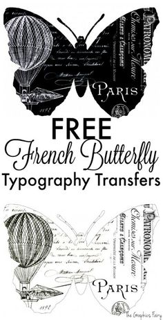 FREE French Butterfly Typography Transfers - The Graphics Fairy