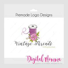 Premade Vintage Threads Logo Design Sewing Logo by DigitalMomma Tailor Logo, Knitting Room, Boutique Interior, Vintage Logo Design, Place Card Holders, Clip Art, Printables, Quilts, Marketing Ideas