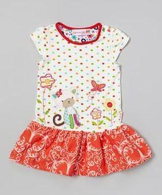 Pink & Red Cat Drop-Waist Dress - Toddler & Girls by Heather Hill #zulily #zulilyfinds