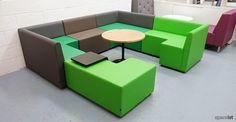 green modular cube booth seating