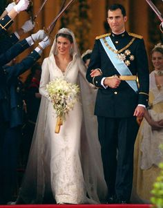 Prince Felipe of Spain and Princess Letiza tied the knot, complete with sword salute, in May 2004.