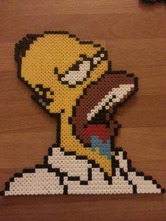 Homer Simpson in perler beads. Donuts.....arhghghg...