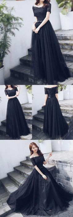 Off Shoulder Black Lace Fashion A-line lace Up Back Prom Dress, Shop plus-sized prom dresses for curvy figures and plus-size party dresses. Ball gowns for prom in plus sizes and short plus-sized prom dresses for Dresses Elegant, Trendy Dresses, Beautiful Dresses, Nice Dresses, Fashion Dresses, Homecoming Dresses Long, Tulle Prom Dress, Bridesmaid Dresses, Short Prom